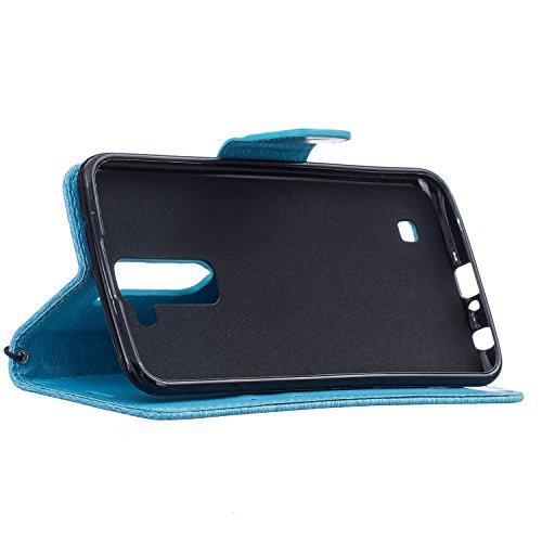 Hülle für iPhone 7 (4.7 zoll), Owbb Kleiner Bär Muster Handyhülle PU Ledertasche Flip Cover Wallet Case mit Stand Function Innenschlitzen Design Grau (Ein freier Stylus als Geschenk) Himmelblau