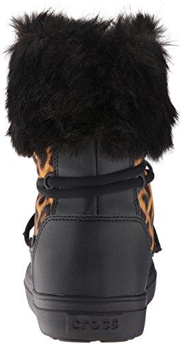 crocs Damen Lodgeptlacebtw Schneestiefel Mehrfarbig (Leopard/Black)