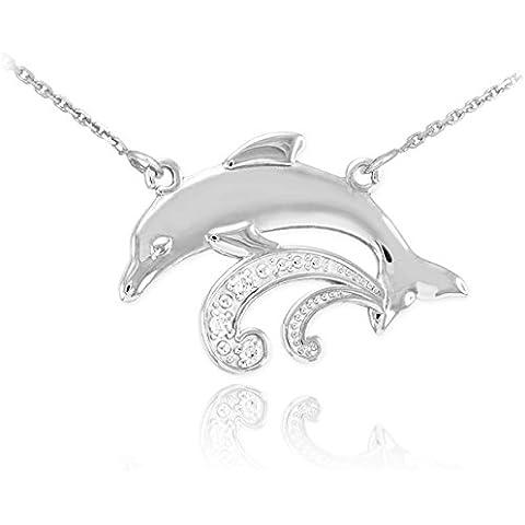 14 quilates 585/1000 Oro Blanco Diamante Collar Delfín