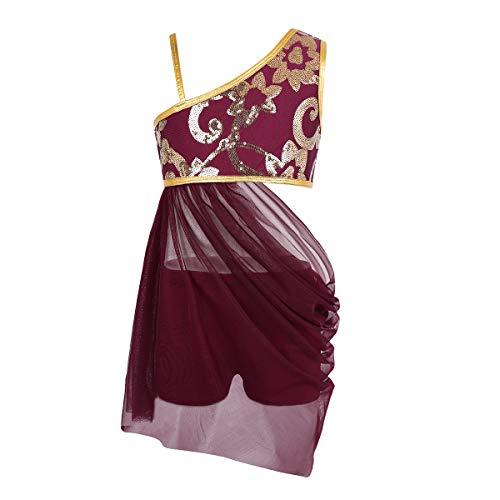 Tiaobug Mädchen Kleider festlich Ballettkleid Latein Salsa Rumba Trachten Tango EIN-Schulter Tanz Kleid mit Tanzhose Pailetten Kostüm mit Glitzer Tanzkleidung Burgundy ()