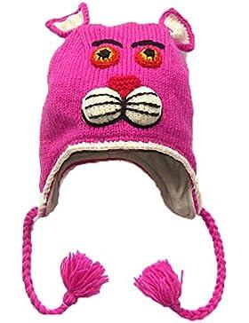 Pantera rosa estilo mano de punto forro polar Nepal gorro de lana