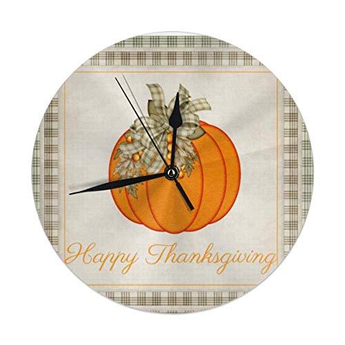 Xukmefat Orologio da Parete Silenzioso Happy Pumpkin Happy Thanksgiving per la casa da 9,8 Pollici a Batteria da Cucina e Ufficio Scuola Decoratio