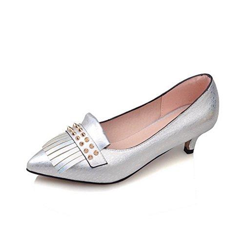 VogueZone009 Femme Matière Souple Tire Pointu à Talon Correct Mosaïque Chaussures Légeres Argent