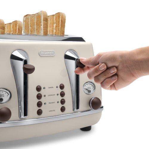 De'Longhi CTOV4003.BG Vintage Icona 4 Slice Toaster – Cream