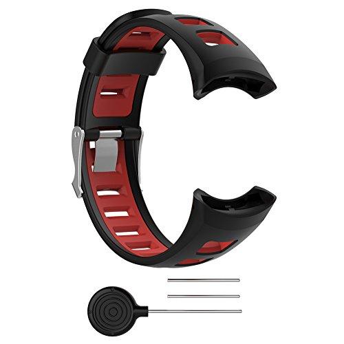 Favourall Ersatz Uhrenarmband - Soft schwarz Gummi Ersatz Uhrenarmband Armband für Suunto SUUNTO Quest/M1/M2/M4/M5/M Serie Herren Zubehör mit 2 gratis Werkzeug (Schwarz)
