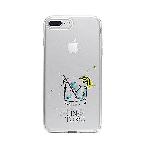 licaso Apple iPhone 8 Plus Handyhülle Smartphone Apple Case aus TPU mit Gin & Tonic Print Motiv Slim Design Transparent Cover Schutz Hülle Protector Soft Aufdruck Lustig Funny Druck Design Tumbler