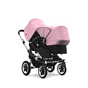 Bugaboo Donkey 2 Duo, 2 in 1 Pram and Double Pushchair for Baby and Toddler, Black/Soft Pink   3