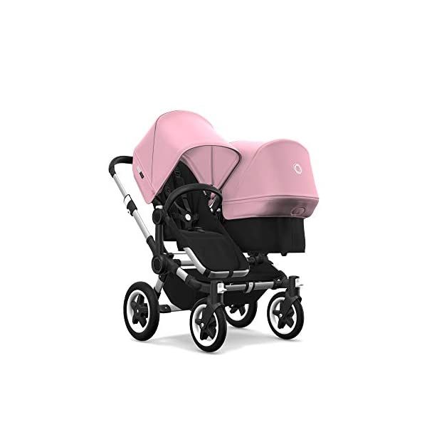 Bugaboo Donkey 2 Twin, 2 in 1 Double Pram and Double Pushchair for Twins, Black/Soft Pink Bugaboo Perfect for two children of the same age Use as a double pushchair or convert it back into a single (mono) in a few simple clicks You only need one hand to push, steer and turn 2