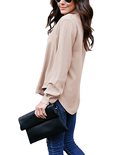 Yidarton Longue Chemise Femme Manches Longues Fluide Blouse Casual Chic Classique Top Kaki*Sans Bouton