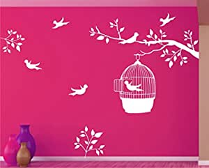 Tree and Leaves with Birds on Branch and Cages White Wall Decal and PVC Home Decor Vinyl Wall Stickers Size (59 * 64) cm
