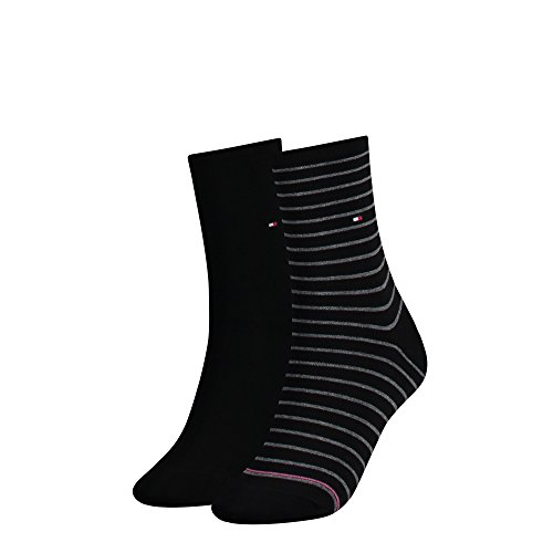 4 Paar Tommy Hilfiger Stripe Damensocken (39-42, black)