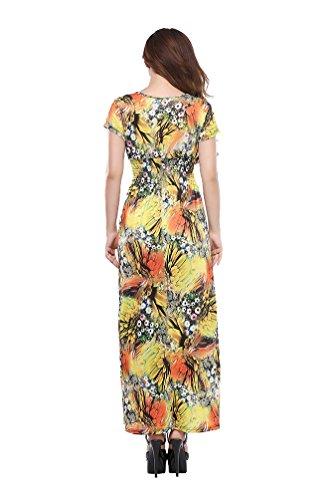 ... NiSeng Damen Elegante Boho Strand Kleid Ärmellos V-Ausschnitt Floral  Lange Partykleid Übergröße Gold ...