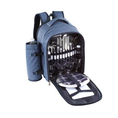 Blauer Picknickrucksack mit Camping-Geschirr und Besteck (Picknick-Tasche für 4 Personen, abnehmbarer Flaschenbehälter)