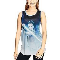 Elbenwald Star Wars Damen Tank Top Shirt The Last Jedi Fighting Rey blau weiß - M