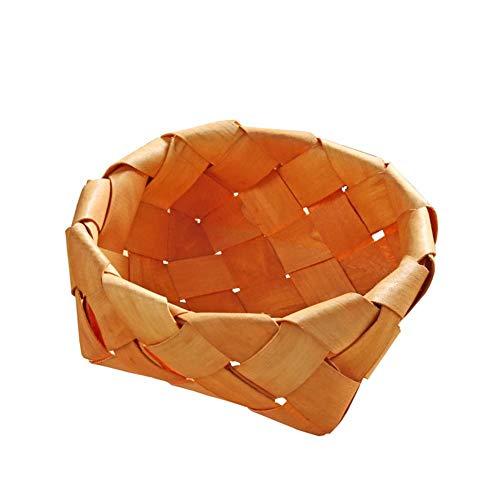 Biback Aufbewahrungskorb aus Holz Geflochten Woven Ablagekorb Kleinigkeiten Esskorb Obst Picknick Korb Kreative Fotografie Vintage Stroh Ablagekorb Spielzeug (Obst Korb Holz Aus)