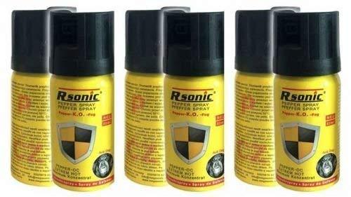 3 Stück Rsonic Pfefferspray K.O. - Fog - 40ml Abwehrspray