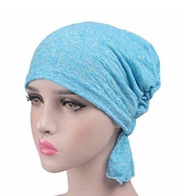 Yuhemii Frauen Beanie Head Wrap Gap Krebs Hat Sleeping Schal Turban Snood für Elastisch Alopezie Plissiert Haarausfall, Blau, Einheitsgröße - Blaue Ski-knit Beanie Cap