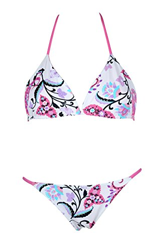 Roberto Cavalli FREEDOM Damen Triangel Bikini-Set Weiß-Rosa B0C3013-P01, size:XL (Cavalli Bademode)