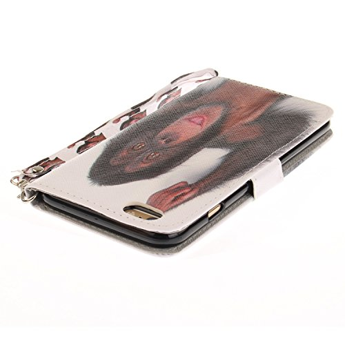 Custodia iPhone 6 Plus / 6S Plus Cover ,COZY HUT Flip Caso in Pelle Premium Portafoglio Custodia per iPhone 6 Plus / 6S Plus, Retro Animali di cartone animato Modello Design Con Cinturino da Polso Mag scimmia