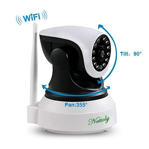 Cámaras de Vigilancia IP WiFi P2P Cámara Video Vigilancia Vision nocturna Cámara de Seguridad 720P con Micrófono y altavoz Detección de movimiento-sonido compatible con iOS Android Cable de 3M