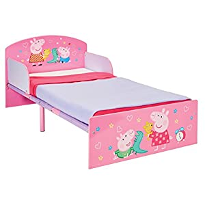 Peppa Pig Kids Toddler Bed by HelloHome Per Material: ABS corner PVC connector Oxford cloth Mesh Size: height 65cm/25.59inch, length 142cm/55.9inch Age: 5 months to 3 years old 21