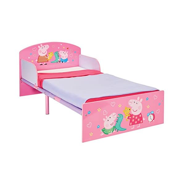 Peppa Pig Kids Toddler Bed by HelloHome Peppa Pig. Snuggle in after a day of play in this Peppa Pig Toddler Bed Perfect size for toddlers, low to the ground with protective and sturdy side guards to keep your little one safe and snug Fits a standard cot bed mattress size 140cm x 70cm, mattress not included. Part of the Peppa Pig bedroom furniture range from HelloHome 27