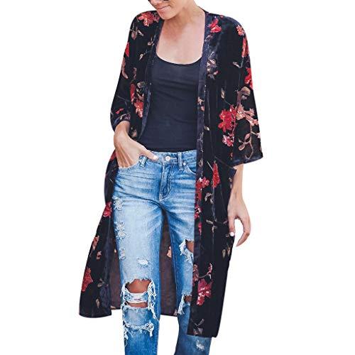 TEELONG Strickjacken Damen Mode-Drucktaschen-Cardigan-Lange Kittelblusen-Oberteile Cover Ups Kimono Strandkleid Pareos(L, Schwarz Mode Kimono