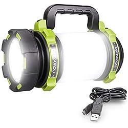 Novostella 1000 Lumens Lanterne LED Rechargeable, Ultra Puissante, 4000mAh Batterie, Lampe de Camping 4 Modes, Câble USB Inclus, IPX4 Étanche, Spot Pour Randonnée Ustellar