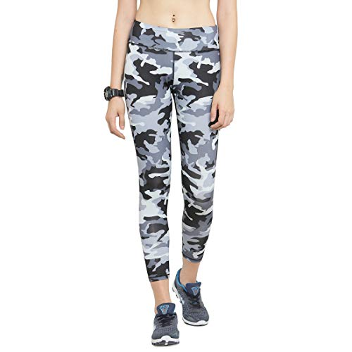Claura Grey Printed Slim Fit Ankle Length Sports Tights for Women-Large