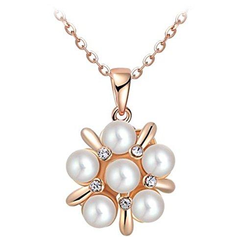 Donna oro rosa placcato perle e cristalli da collana con ciondolo fiore