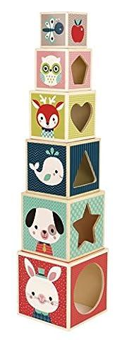 Janod Holzspielzeug - Stapelpyramide Baby Forest Wald- Motiv Würfel Bausteine, Mehrfarbig