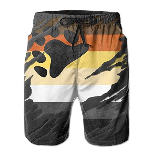 Gay Bear Pride Flag Men's Cool Quick Dry Swim Trunk Summer Beach Board Shorts with Mesh Lining-XXL -