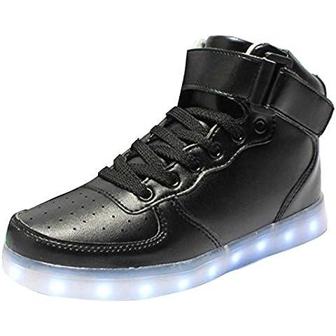 Myroads Unisex Adulto Carica 7 Colore USB LED Lampeggiante Luminosi Alto Top Sneaker Scarpe Sportive ( Nero EU 38 )