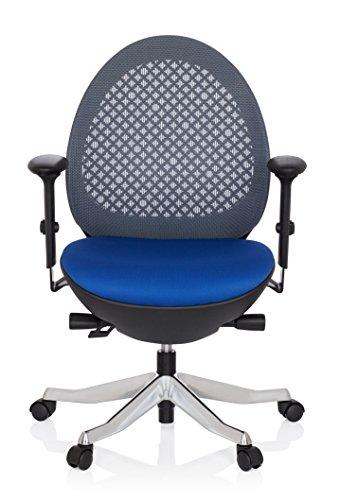 hjh OFFICE 640120 Bürostuhl CORVENT Netz-Stoff Schwarz / Blau Designer-Sessel Höhenverstellbar Armlehnen Netzrücken