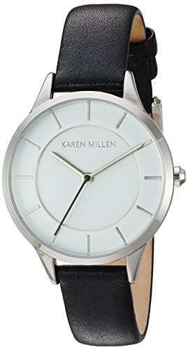 Karen Millen Women's Quartz Watch with White Dial Analogue Display and Black Leather Strap KM133BA