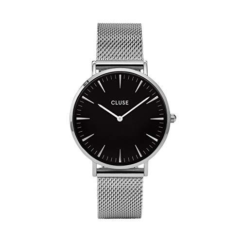 Cluse Damen Armbanduhr Analog Quarz Edelstahl, silber/schwarz, CL18106