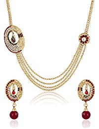 Shining Diva Gold Plated Party Wear Traditional Necklace Set / Jewellery Set With Earrings For Girls And Women