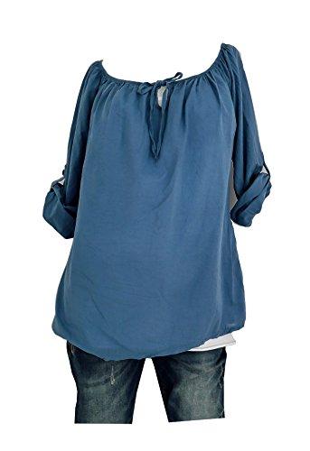Klassische und zeitlose Baumwoll Tunika mit Schluppe Schleife Bluse Longbluse M L 38 40 42 (8072) (Jeansblau) (Baumwoll-tunika Klassische)