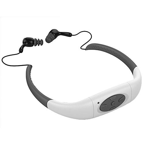 Schwimmen MP3 Player, Yikeshu IPX8 Wasserdichte Sport MP3 mit FM Radio Musik-Player Stereo-Ohrhörer für Schwimmen 3-5 Meter Tauchen Radfahren Surfen Running Sport (4G, Weiß)