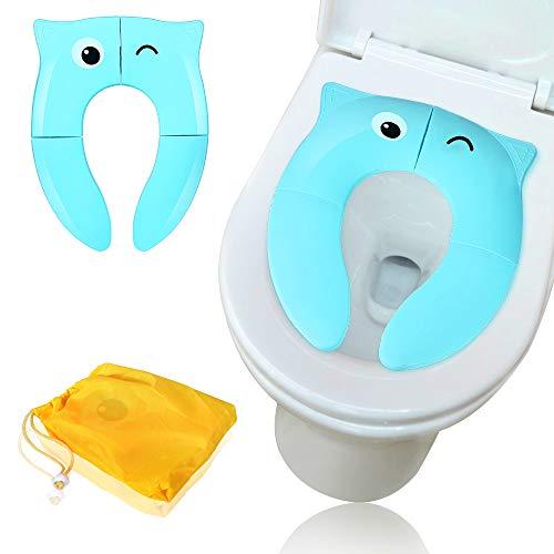 Sooair Kinder Toilettensitz, Faltbarer Toilettentrainer für Unterwegs, Tragbar Reise WC Sitz Kleinkind Töpfchentrainer WC Sitzbezüge (Blau)