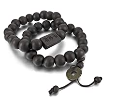 Idea Regalo - Xiton 2PCS 11 millimetri di legno bracciale da polso tibetano perline buddista di preghiera uomo Mala Amuleto Coin Set elastico