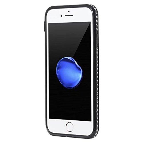 Blume gedrucktes Muster weiche schwarze TPU Gel-Shell-Stoßdämpfer-Abdeckung [Shockproof] glänzender Bling Funkeln-Rhinestone-rückseitige Abdeckungs-Fall für iPhone 7 ( Color : E ) D