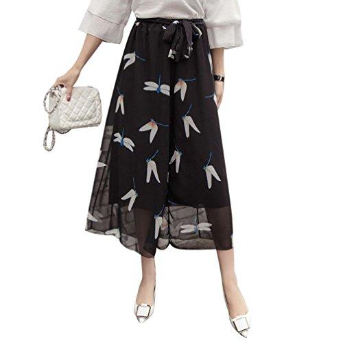 Damen Sommer Weite Bein Hosen - Elegante Hohe Taille Chiffon Hosen Mode Blumenmuster Boho Loose Fit Knöchellänge Hosen Streetwear Große Größen