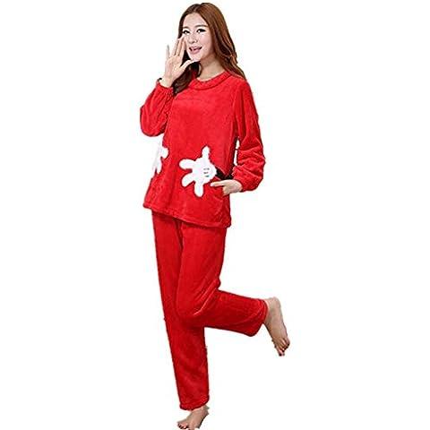LIUDOUDibujos animados rojo damas Linda franela pijamas manga larga gruesa pijama conjunto con pantalones de Pj , xl