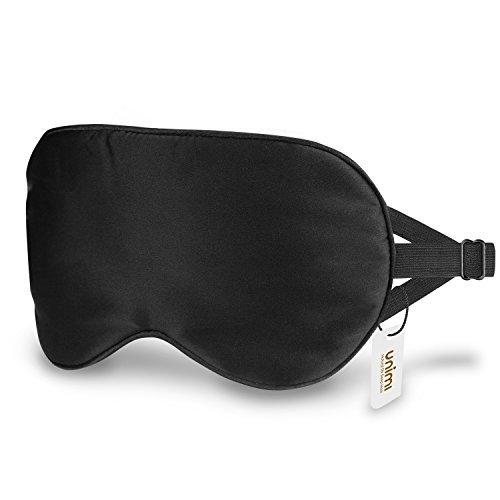 Schlafmaske, Unimi Premium 100% Seide Schlafmaske Frauen und Herren, bequem und freies Bewegen der Augen, 3 verbseerte Riemen blockieren das Licht komplett ¡ Leben Nacht Licht