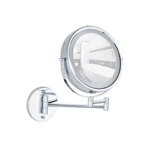 Wenko 3656530100 Power-Loc LED Wandspiegel Lumi - Befestigen ohne bohren, Spiegelfläche ø 17.5cm,...