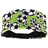 Madsportsstuff Crazy Soccer Headband With Soccer Balls (neon Green/Black, One Size)