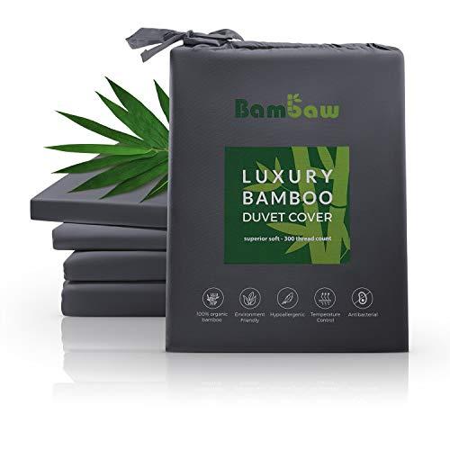 Bambaw Deckenbezug aus Bambus   Luxus Bettwäsche Bambus   Allergiker Deckenbezug   Lyocell bettwäsche   Super Atmungsaktiver Stoff   Anti Milben Deckenbezug   Anthrazit   135x200