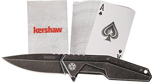 Kershaw Starter Couteau + Jeu de Cartes Mixte Adulte, Gris