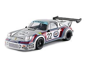 Norev-187424-Porsche 911RSR Turbo 2.1-Le Mans 1974-Escala 1/18-Plata/Rojo/Azul